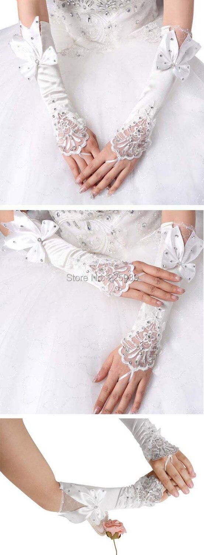 Fingerless gloves edmonton - 2015 New Fashion Fingerless Elbow Long White Satin Wedding Gloves Bowknot Crystal Rhinestone Silver Beaded Bridal