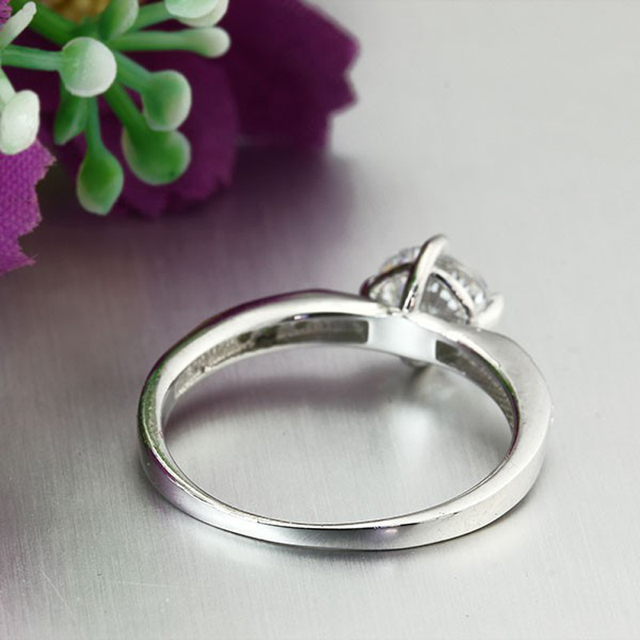 Promise 925 Sterling Silver Ring Classic Wedding Ring Jewelry Cubic Zircon Rings For Women Bridesmaid Gifts