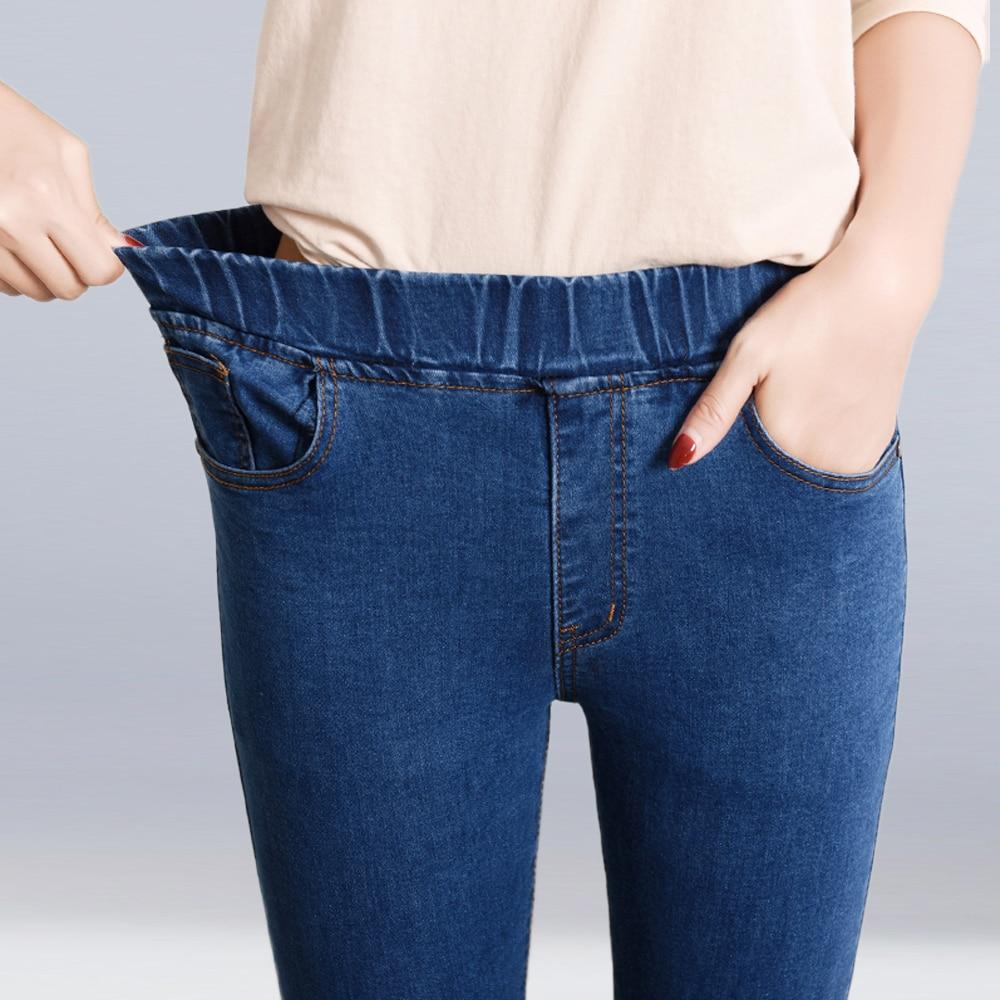 Nueva moda 2019 Otoño Invierno mujer Casual Jeans de talla grande 6XL pantalones vaqueros elásticos lápiz cintura alta pantalones vaqueros ajustados pantalones largos