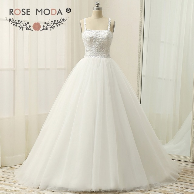 Rose Moda Plus Size Tulle Ball Gown Sequined Corset Princess Wedding ...