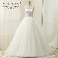 Rose Moda Plus Size Tulle Ball Gown Sequined Corset Princess Wedding Dress White Ivory Debutante Dress