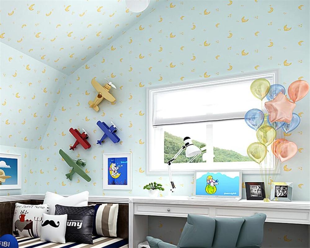 Behang Kinderkamer Geel : Beibehang cartoon kinderkamer bocht maan cartoon behang kinderkamer