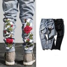 Высокое Качество Мужская Мода БЕЛОВАТОГО Розы Вышивка Рваные Джинсы Мужской 95% Хлопок БЕЛЫЕ Джинсовые Черный Тощий Байкер джинсы Отверстие