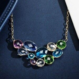 Image 5 - Neoglory collar largo con colgante de cristal austríaco para mujer, diseño geométrico colorido, Color dorado champán, regalo de marca