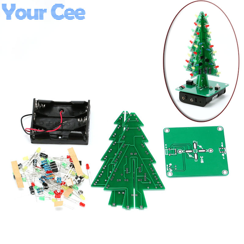 1 pc Three-Dimensional 3D Christmas Tree LED DIY Kit Red/Gres