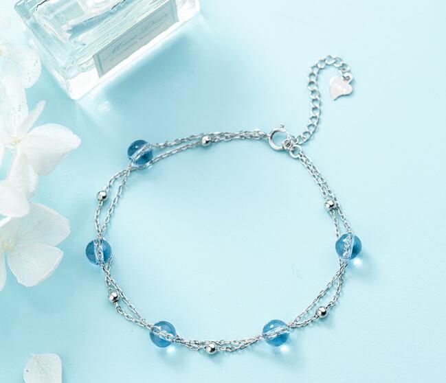 100% Authentische Echt. 925 Sterling Silber Edlen Schmuck 2-reihen Blau Stein & Poliert Glück Bead Kette Armband Gtls743