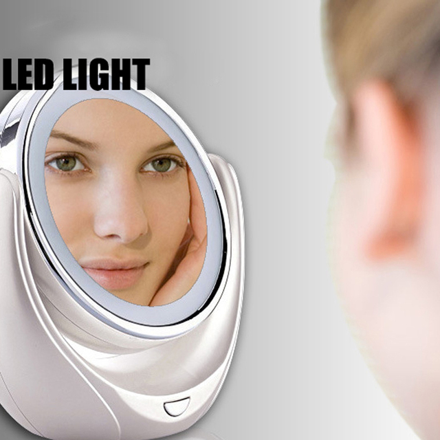 Espejo de maquillaje 2016 mujeres de La Manera señora Llevó Mesa de Espejo de Maquillaje espejo de Aumento Espejo de maquillaje Profesional conjunto de salud y belleza 318-1
