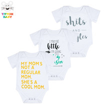 2018 Letter Pattern Print Black White Pink Short Sleeves Baby Bodysuit Baby Girl Boy Clothes Baby One-Pieces Outfits Hot Sale(China)