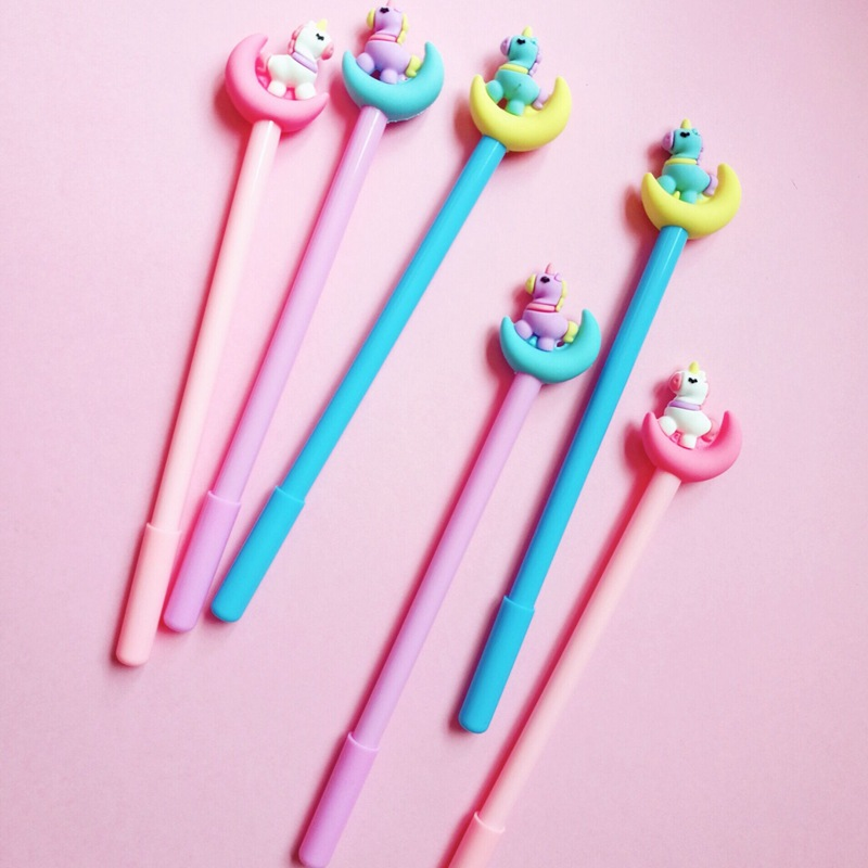 3 pcs/lot Moon Unicorn Gel Pen Signature Pen Escolar Papelaria School Office Supply Promotional Gift 1 pcs novelty cute my neighbor totoro gel ink pens signature pen escolar papelaria office school supply promotional student gift