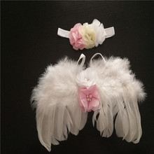 0-6M Newborn White Angel Photo Props Baby Girls Angel Wings Wing Set Feather Newborn Photography Props Kids Outfit Photo Prop(China)