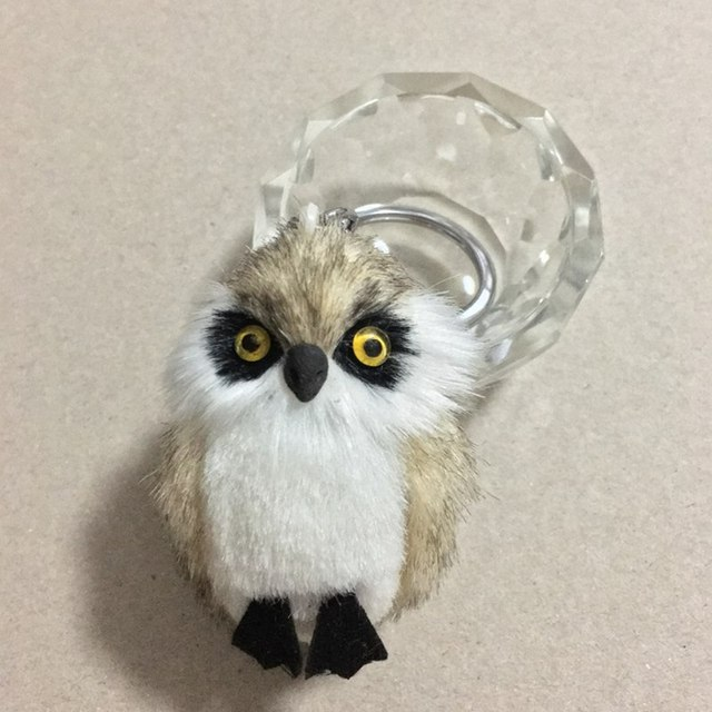New Fashion Cute Owl Plush Toy Key Chain Ring Faux Rex Rabbit Fur Keychain Woman Bag Charms Man Car Keyring Wedding Party Gift 3