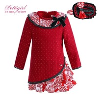 Pettigirl Christmas Baby Girl Dress Wtih Headbands And Flower Collar Autumn Infant Bontique Wear G-DMGD908-999