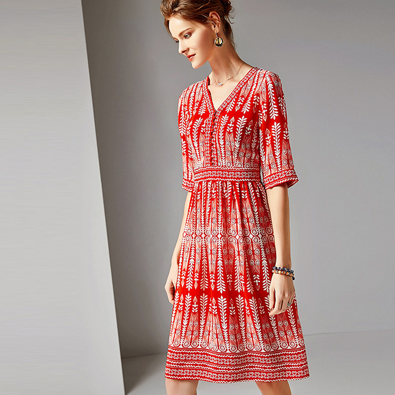 Dress Women 100 Silk Fabric Printed V Neck Half Sleeves High Waist Casual Style Dress New