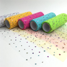 10yards 15cm 6inch Sequins Heart Tulle Rolls Wedding Decoration Mariage Glitter Roll DIY Fabric Craft Free shiping