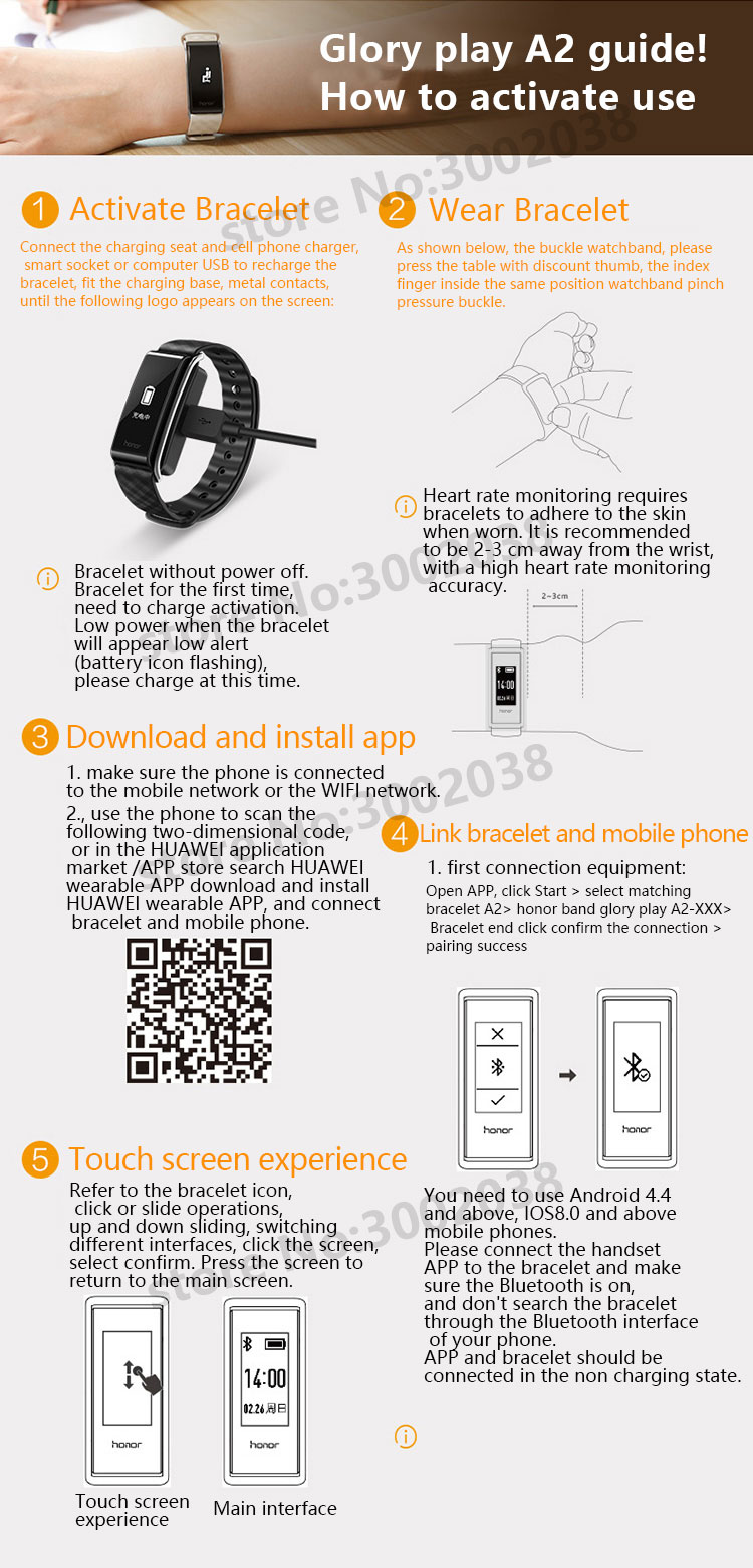 New original HUAWEI glory Glory play Bracelet A2 Running time, exercise, heart rate monitoring For Android xiaomi Bracelet 2 IOS 15