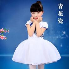 Trajes de danza folclórica china azul y blanco de la porcelana tradicional china muchacha de la ropa de coro traje de la etapa