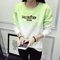 FALL OUT BOY SÉCULOS de Impressão Camisola Com Capuz Mulheres O-pescoço Gradiente Ocasional Algodão Camisola de Lã Plus Size JBW-11719