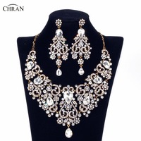 CHRAN Indian Bridal Wedding Jewelry Sets Celebrity Engagement Necklace And Earrings Jewelry Set African Beads For Women CRJS163