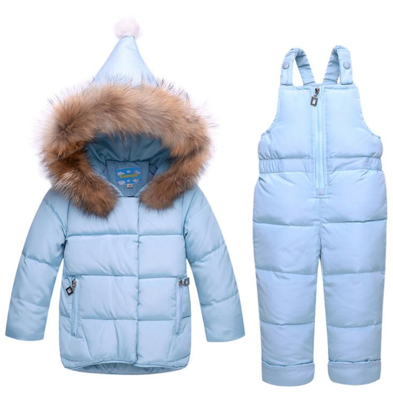 BibiCola Girls Winter Duck Down Ski Suits For Russian Girls Down Jacket Coat + Jumpsuit Set Thick Jumpsuit Coats White Duck Down jumpsuit gina bacconi jumpsuit