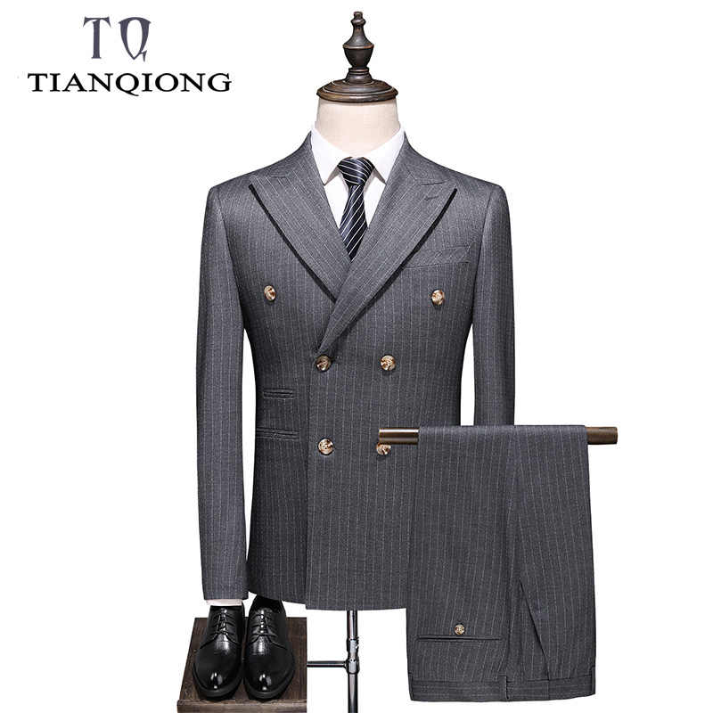 Double Breasted Striped Suit Gary Wedding Suits for Men 3 Pieces Terno Masculino Slim Fit Costume Homme Mariage Business Wear