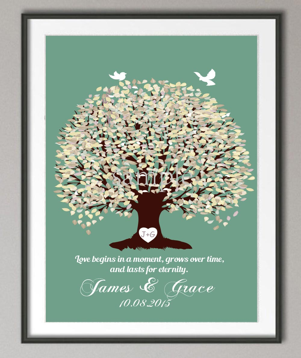 Wall Decoration For Wedding Anniversary : Wedding anniversary poster family tree wall art print