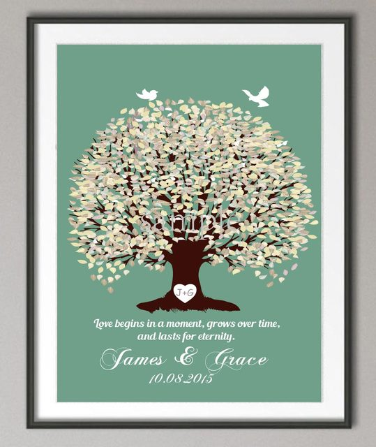 Wedding Anniversary Poster Family Tree Wall Art Print Pictures Canvas  Painting Personalized Wedding Gifts Love Quote