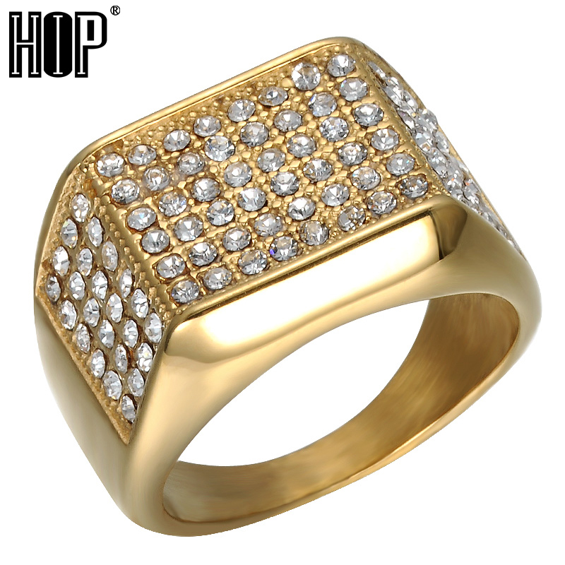 6a1a20ac80 HIP Hop Micro Pave Rhinestone Iced Out Bling Big Square Ring IP Gold ...