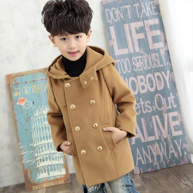 2016 new arrival autumn winter boys wool coats medium long section hooded British blends overcoat for kids boy outwear jacket