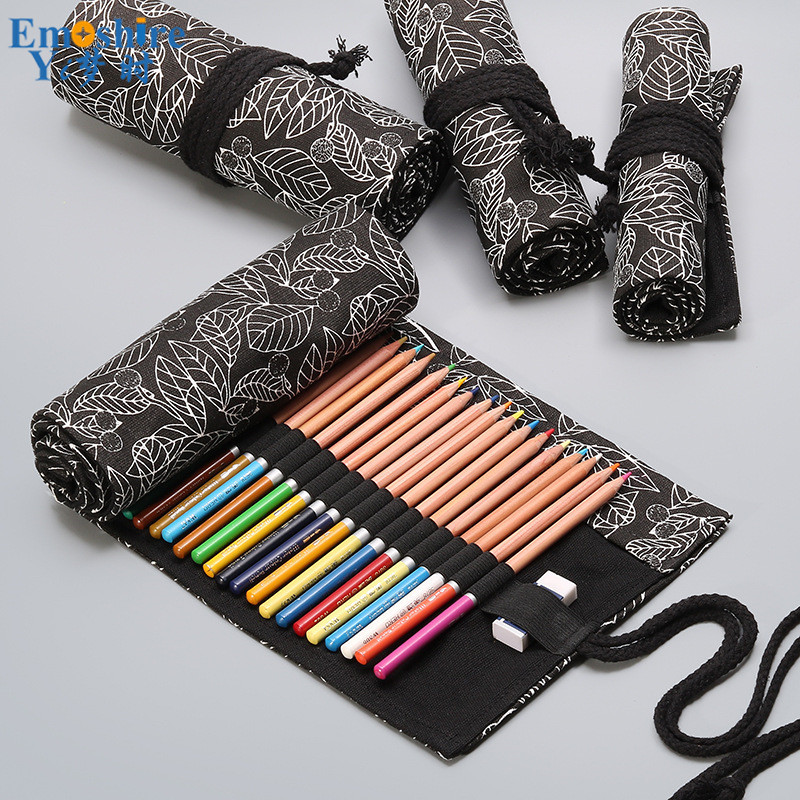 Black Leaf Canvas Printed Pen Curtain 12/24/36/48/72 Hole Large Capacity Pencil Bag Color Lead Sketch Stationery Pencil Bag B287 skeleton printed waterproof bath curtain