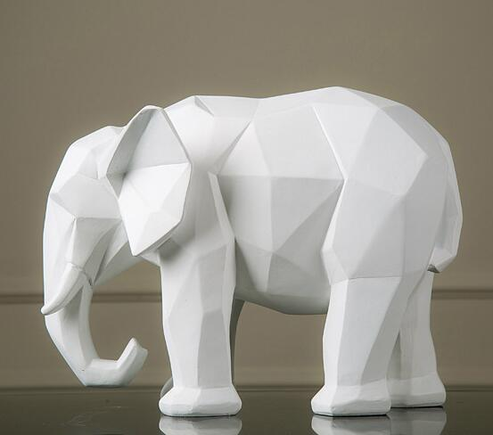 Geometry Origami Black And White Elephant Figurine
