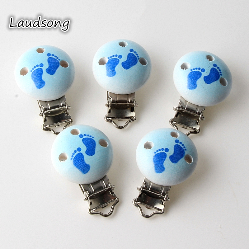 5pcs/lot Wooden Baby Children Pacifier Holder Clip Infant Cute Clasps For Baby Product Hole 4.4cm x 2.9cm