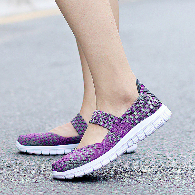 2019 Summer women flats sandals Shoes women woven flat shoes ladies multi colors slip on sandals female brand loafers in Women 39 s Flats from Shoes