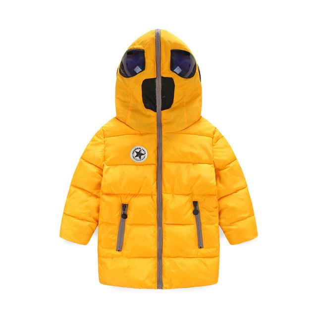 Nueva llegada de la manera ocasional de los muchachos chaqueta de invierno, ropa para niños, gruesa larga con capucha chicos abrigo de invierno caliente Para 4-10 Años Muchacho Parka