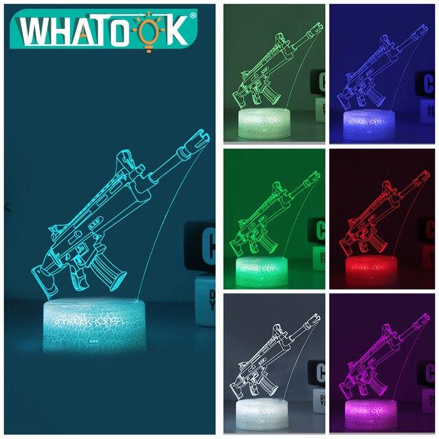 3D Scar Lamp Rocket Launcher LED Night Lamps Fortnite 3D Lights 7 Color Changing 2