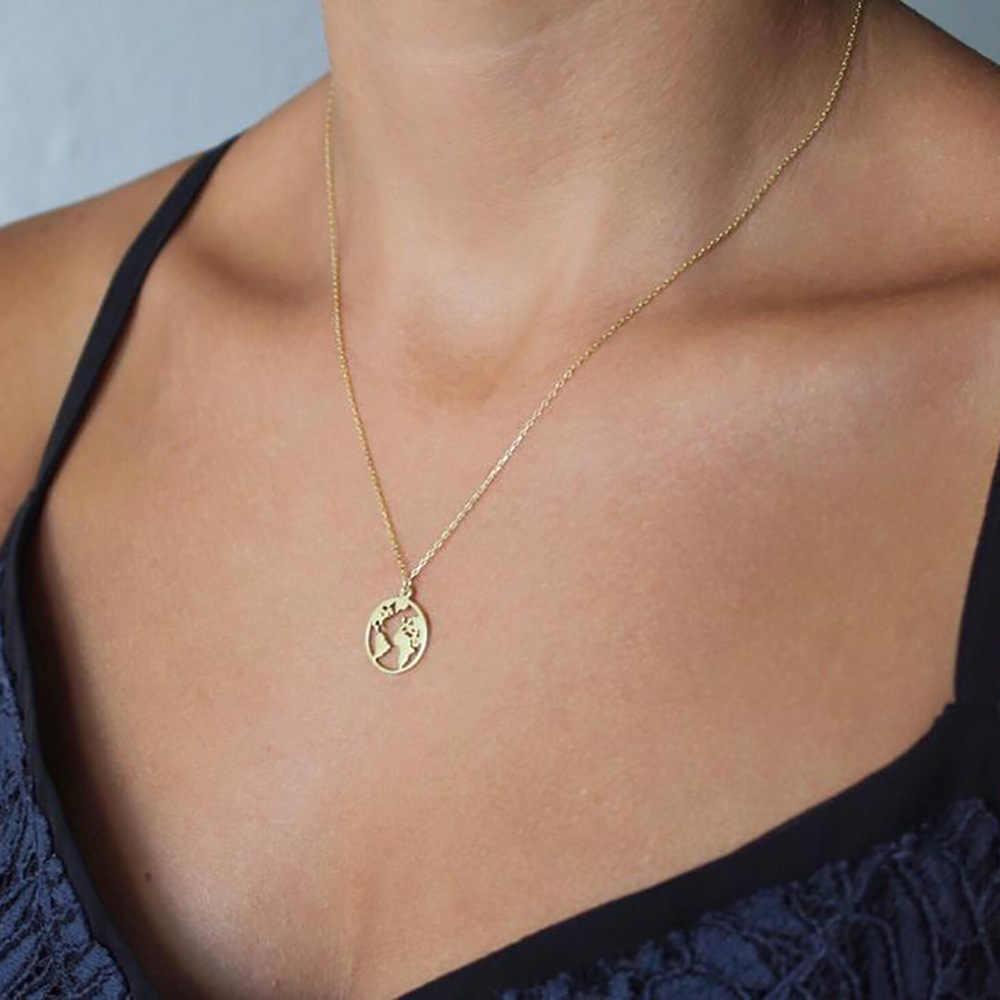 Świat mody mapa okrągły wisiorek długi naszyjnik z łańcuszkiem kobiety kreatywny naszyjnik obojczyka Choker komunikat