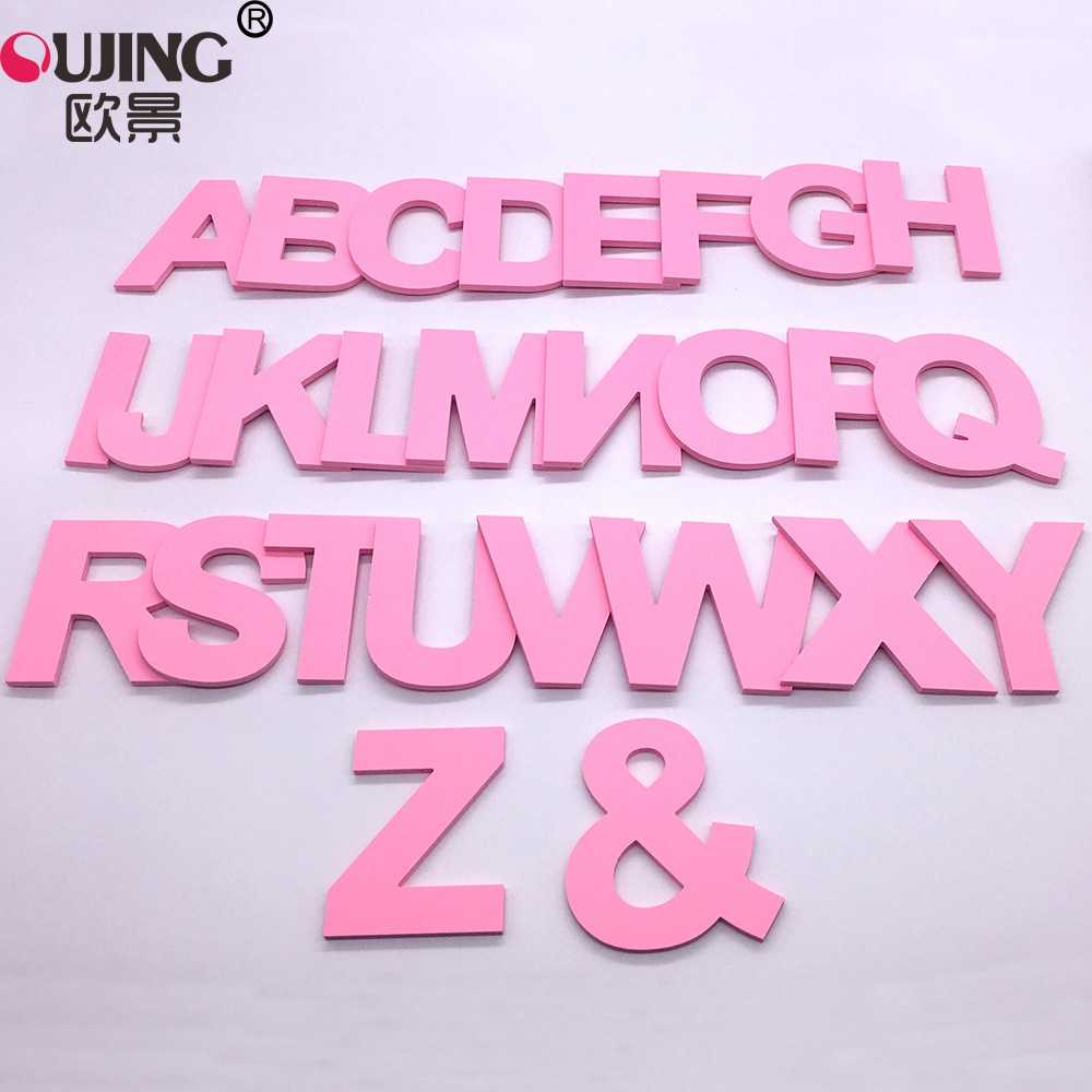 3D Pink Capital English Letters Wall Stickers Kids Living Room Wedding Decor Wall Decals PVC Foam Board Alphabet DIY Art Mural
