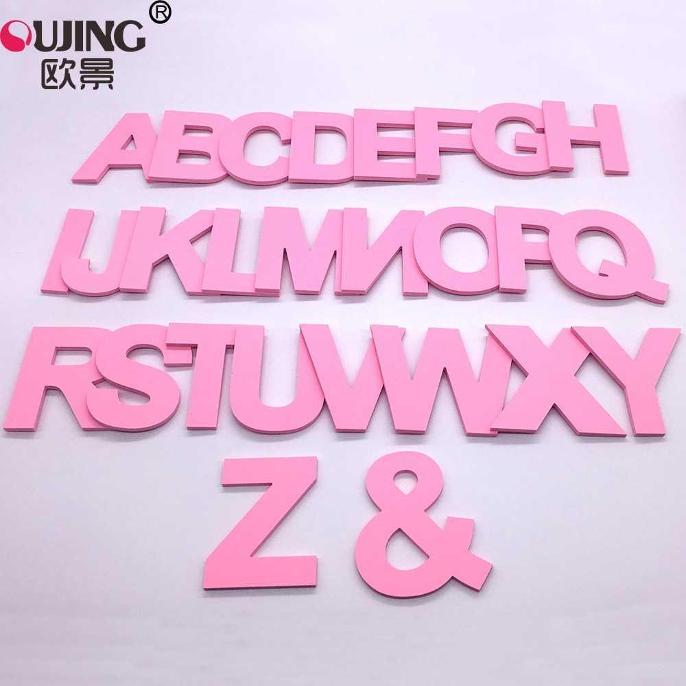 3D 핑크 캐피탈 영어 편지 벽 스티커 어린이 거실 웨딩 장식 벽 스티커 PVC 폼 보드 알파벳 DIY 아트 벽화