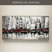 Special Design Artist Hand-painted Abstract Black and White City Building Oil Painting on Canvas
