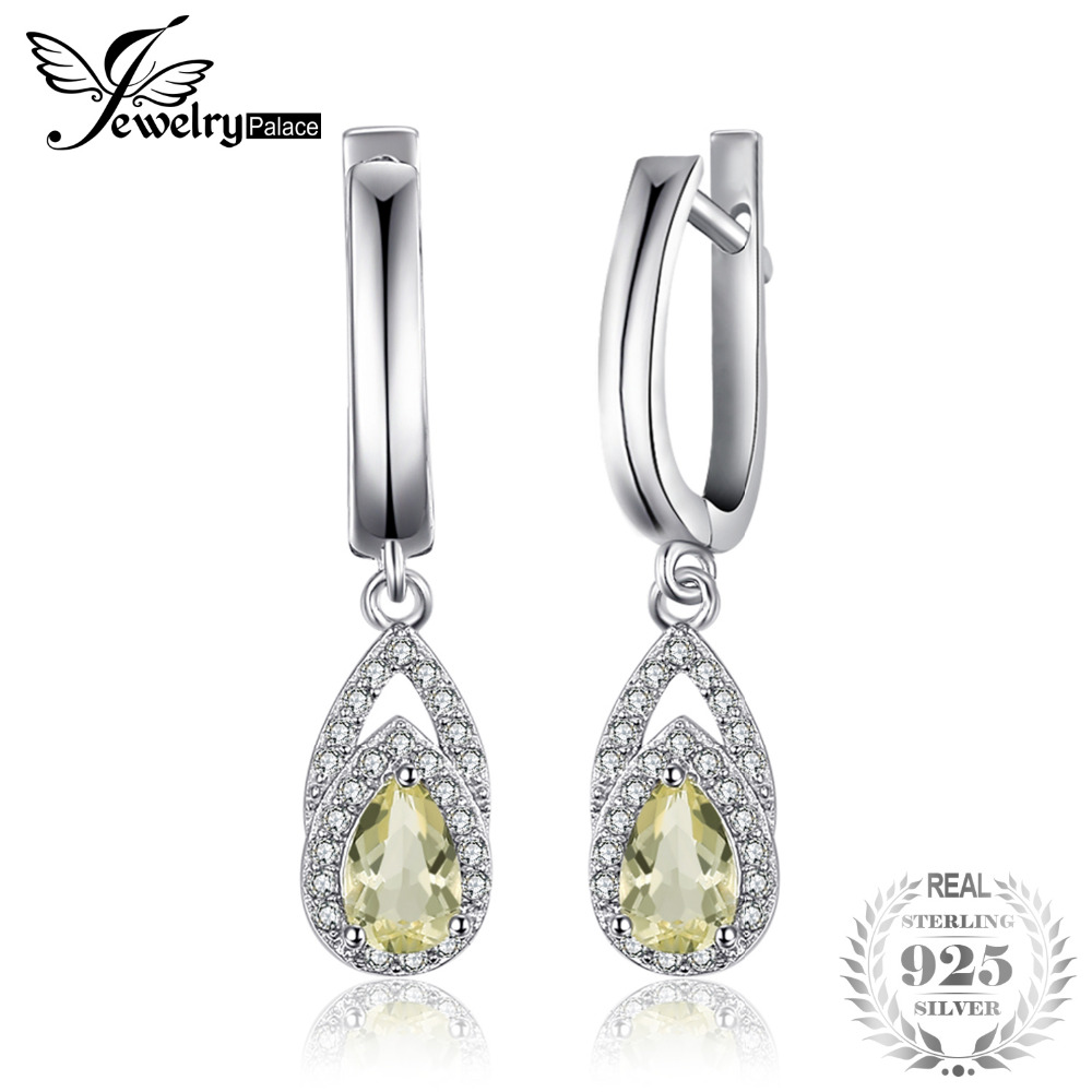 JewelryPalace Elegant 0.93 ct Natural Lemon Quartz Water Clip Earrings 925 Sterling Silver Fashion Brand Woman Fine Jewelry