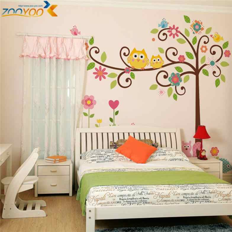 Owls On Tree Branch Decorative Wall Stickers For Kids Room Home Decoration Cartoon Wall Pvc Decor An