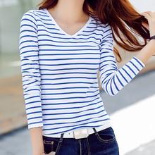 Женская футболка, Женская Полосатая футболка, топ, женская футболка с длинным рукавом и v-образным вырезом, футболка размера плюс 3XL, осенняя Повседневная футболка, черный и белый цвета