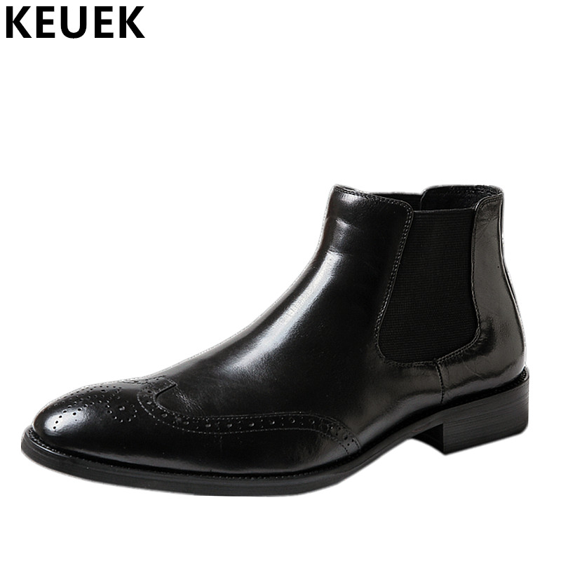 British style Men Chelsea Boots Genuine Leather Breathable Bullock Martin boots Pointed Toe Slip-On Ankle Boots 033 british style men chelsea boots genuine leather breathable bullock martin boots pointed toe slip on ankle boots 033