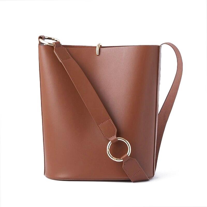 Split Leather Korean European Pure Color Barrel-Shaped Women's Bucket Bag Crossbody Shoulder Bags