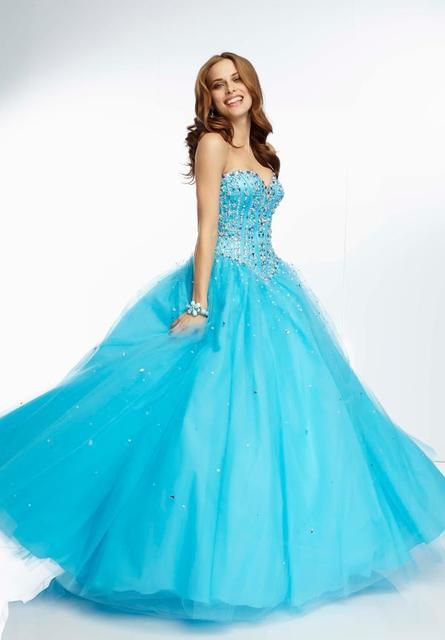 Baratos vestidos Quinceanera bola vestidos vestido para 15 anos do Aqua cristal frisado Top querida Prom 2016