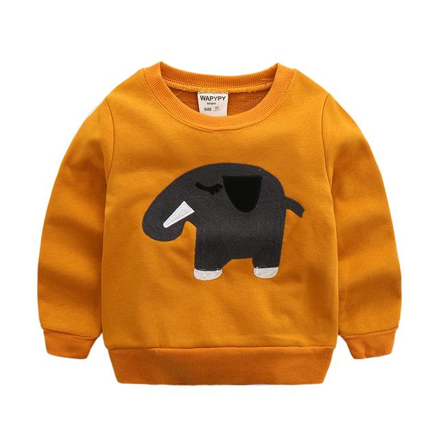 Boy da longo-luva camisola camisolas pullover casuais meninos elefante dos desenhos animados do bebê da criança primavera e outono topo