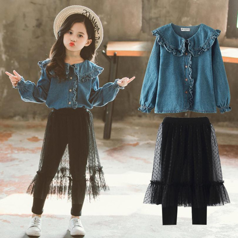 3-12Years New Teenager Ladies Clothes Units 2019 Spring Lengthy Sleeve Denims Shirt+Dot Yarn Skirt Pant 2pc Kids Clothes Outfit Clothes Units, Low-cost Clothes Units, 3 12Years New Teenager Ladies...