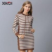 XIKOI Oversize Sweatshirts For Women Stripe Pattern Hoodies Long 5 Color Casual Hat Top hx003 2018