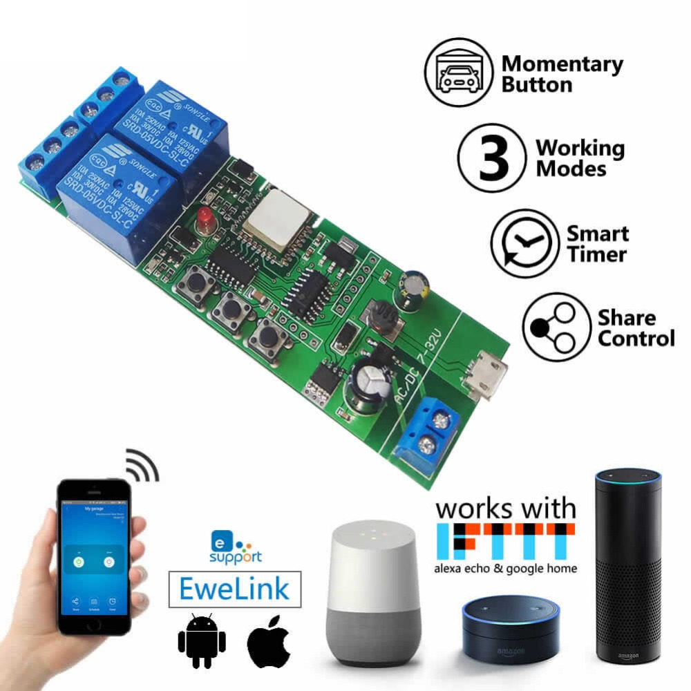 2-GANG DIY Switch 2 Channel Wifi Wireless Switch Inching Self-locking Interlock 5V DC7-32V For Amazon Alexa Google Home EWeLink