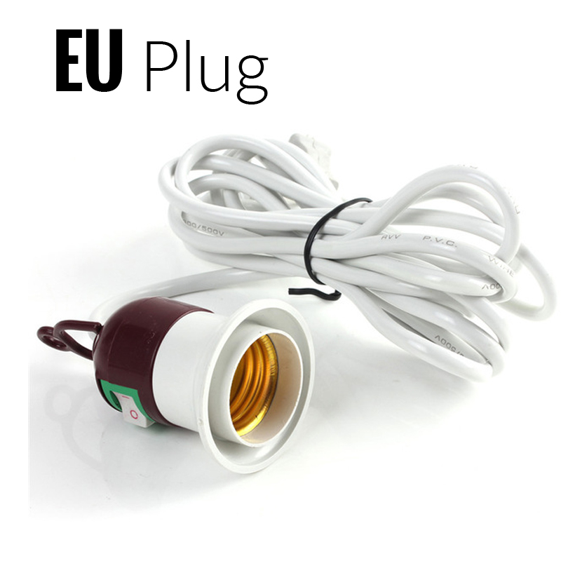 E27 E26 Lamp Base EU Hanging Pendant LED Light Fixture Lamp Bulb Socket Cord Adapter With On/Off Switch Lamp Bases Holder colorful lamp holder pendant light muuto lamp e27 color silicone lampholder and base button switch hanging light fixture