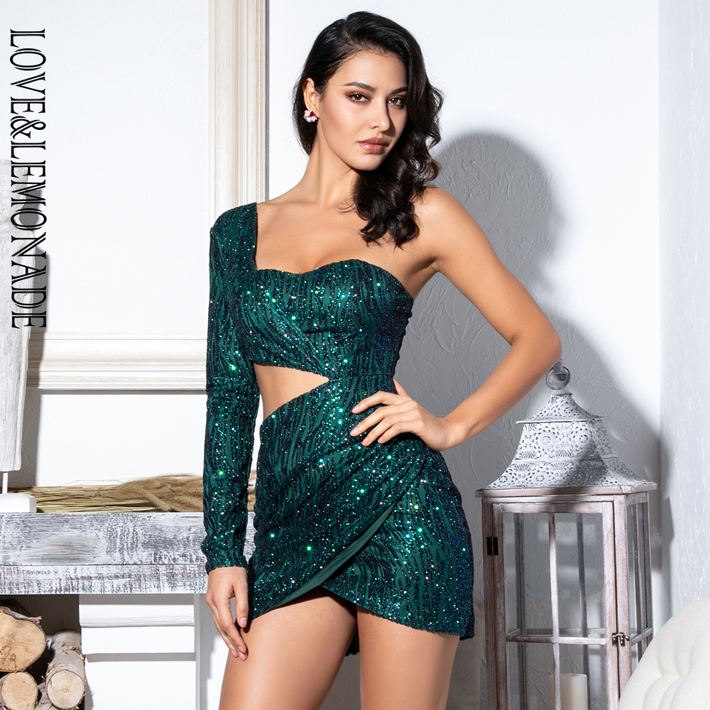 Love Lemonade Sexy Green Cut Out Single Sleeve Glitter Glue Bead Material Bodycon Party Dress LM81650